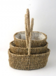 SEAGRASS OVAL HANDLED BASKETS S/3